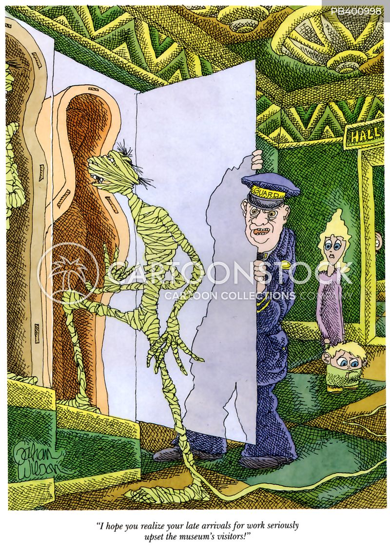 museum guards cartoon