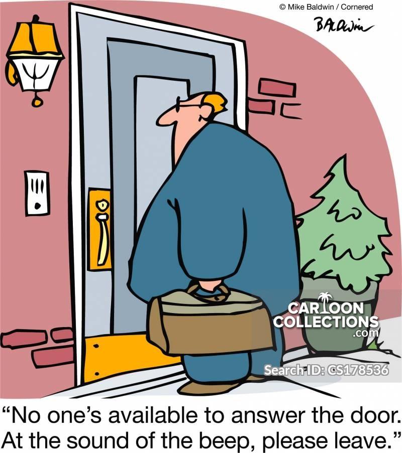 door to door sales men cartoon