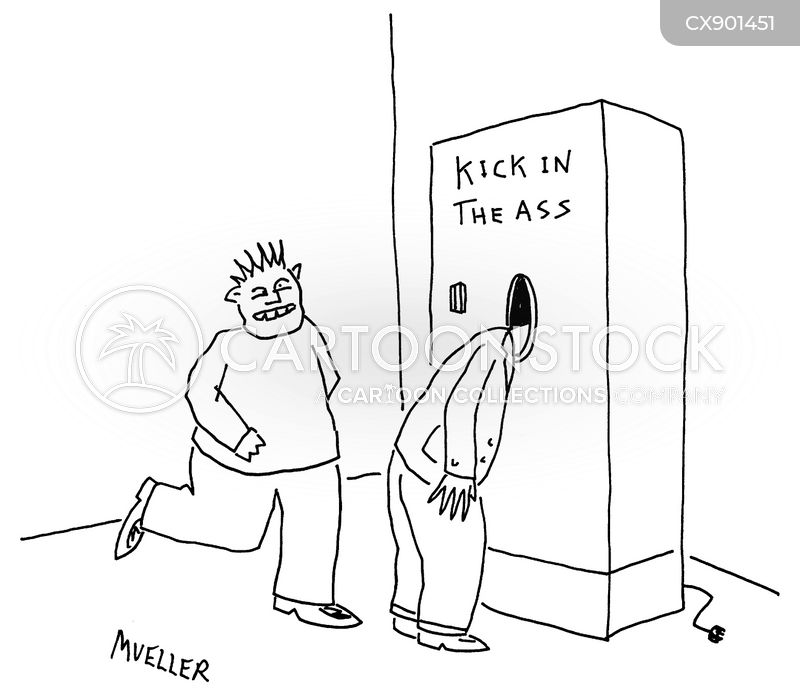 kicked cartoon