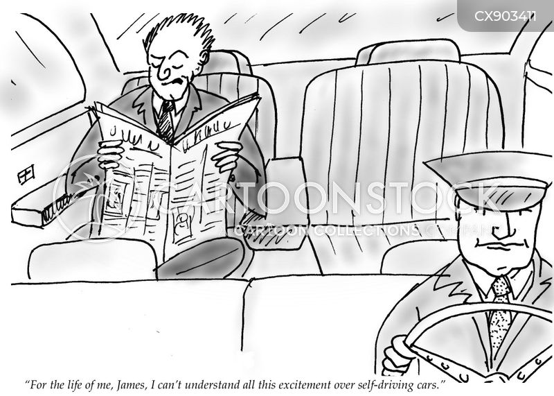 driverless car cartoon