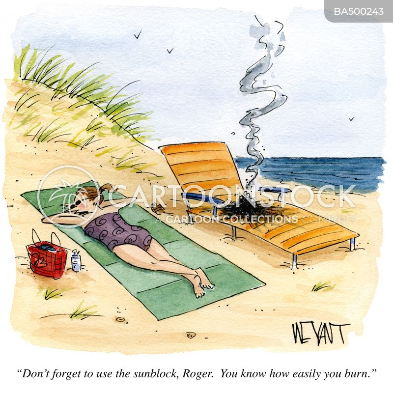 sunburn cartoon