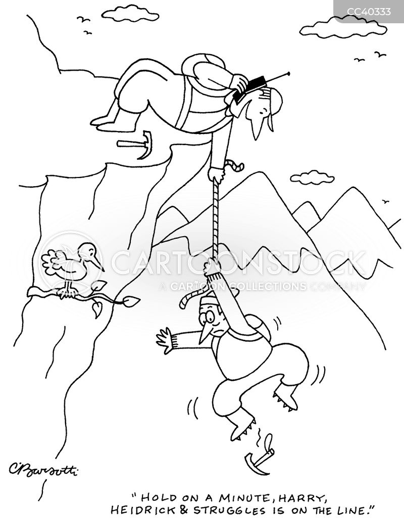 mountain climbers cartoon