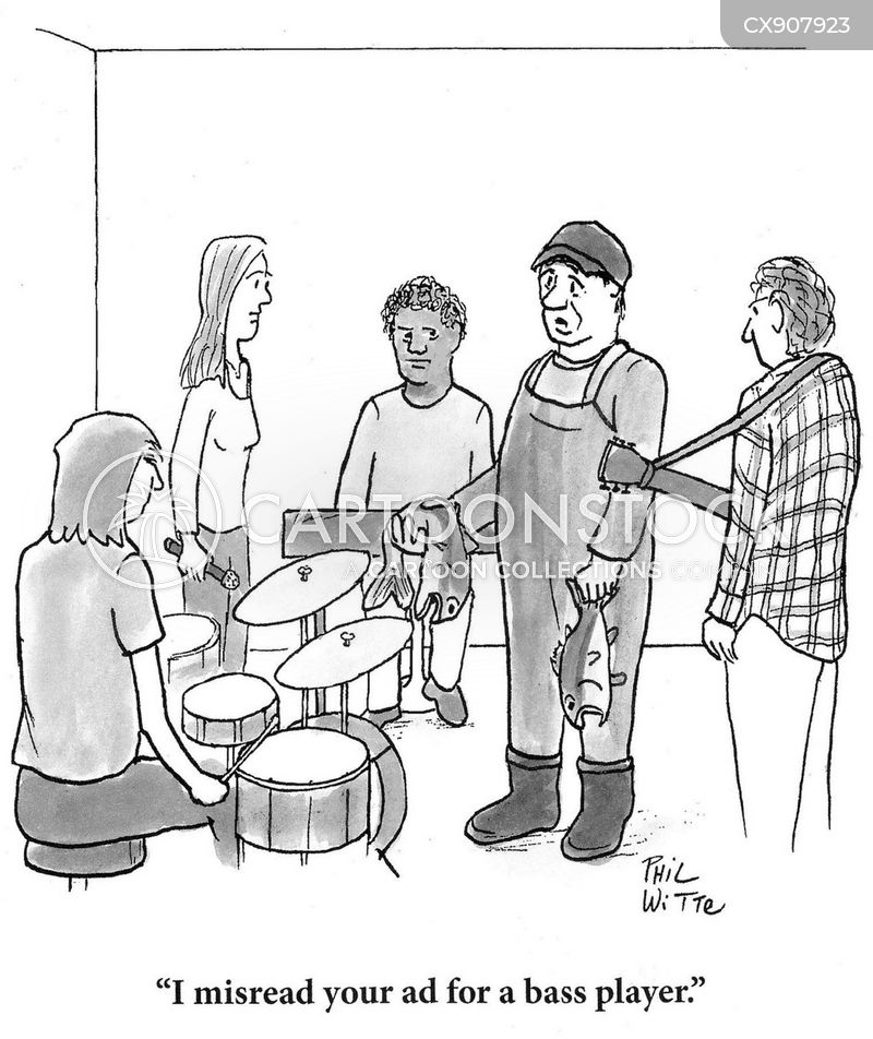bass player cartoon