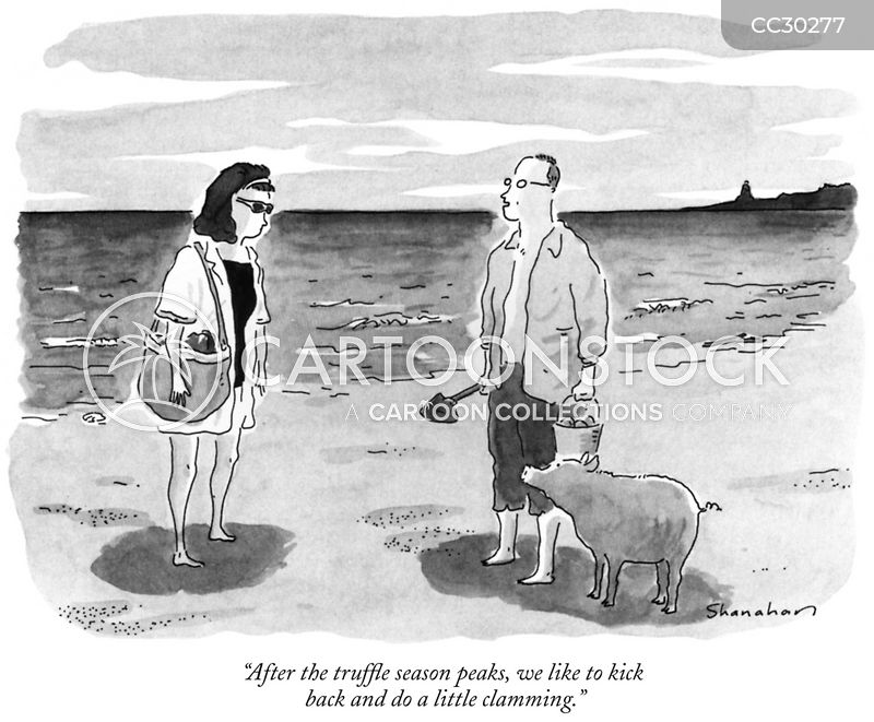 Clamming cartoon