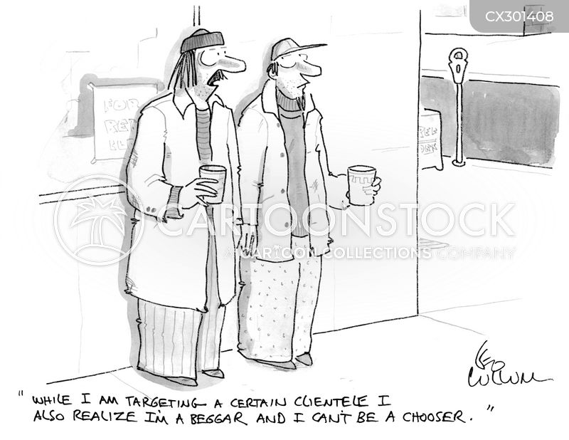 choosing beggar cartoon