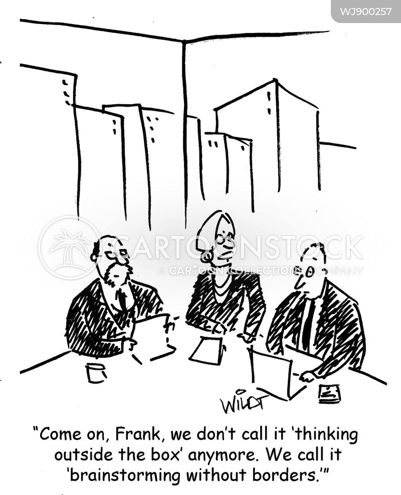 thinking outside the box cartoon