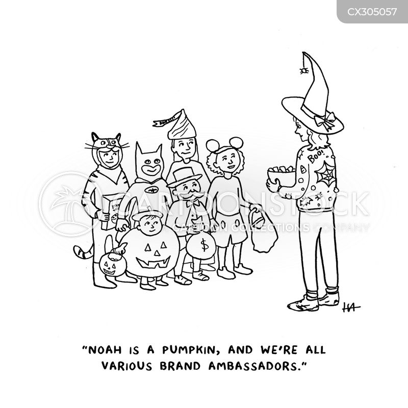 trick-or-treater cartoon