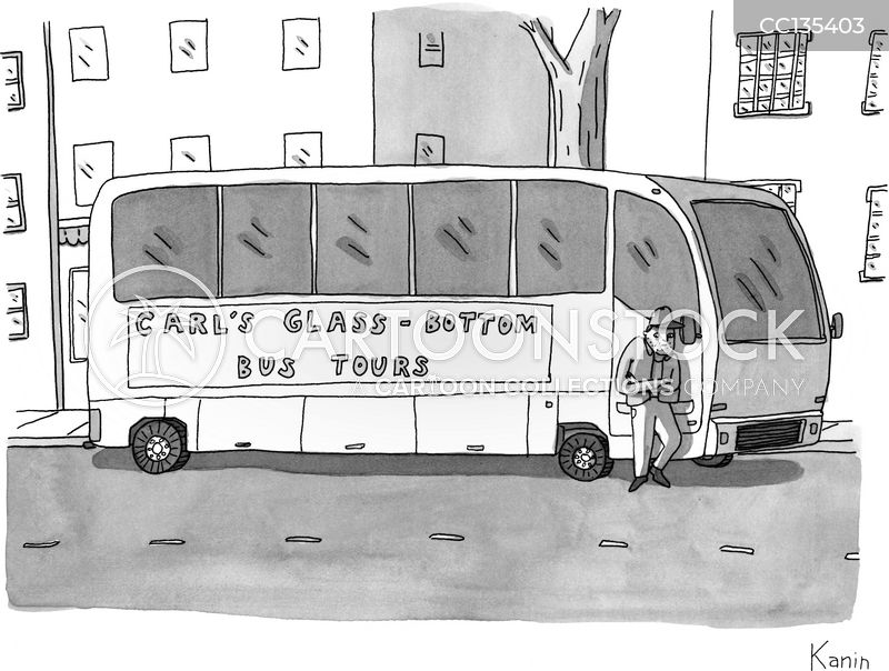 coach tours cartoon