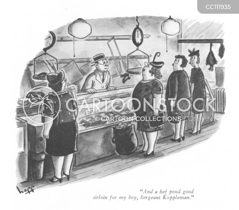 old fashioned butchers cartoon