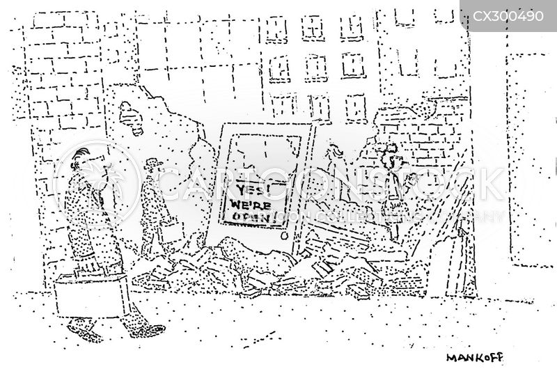 building collapse cartoon