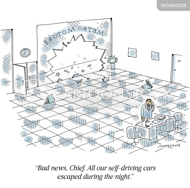 self-driving cars cartoon