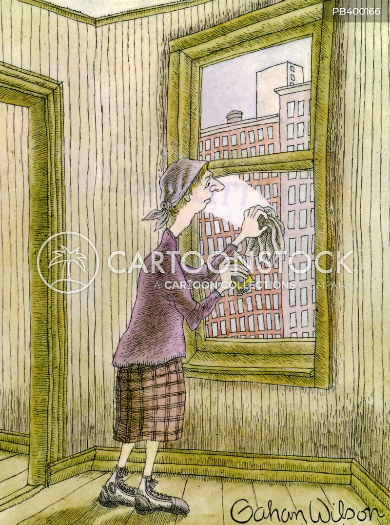window cleaner cartoon