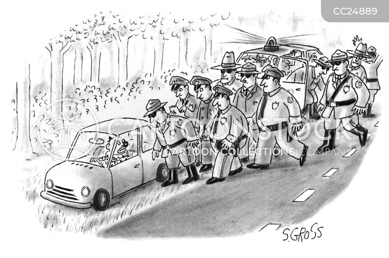 pulled over cartoon