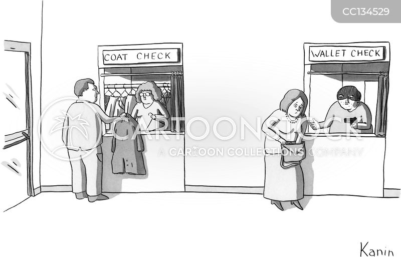 coat checks cartoon