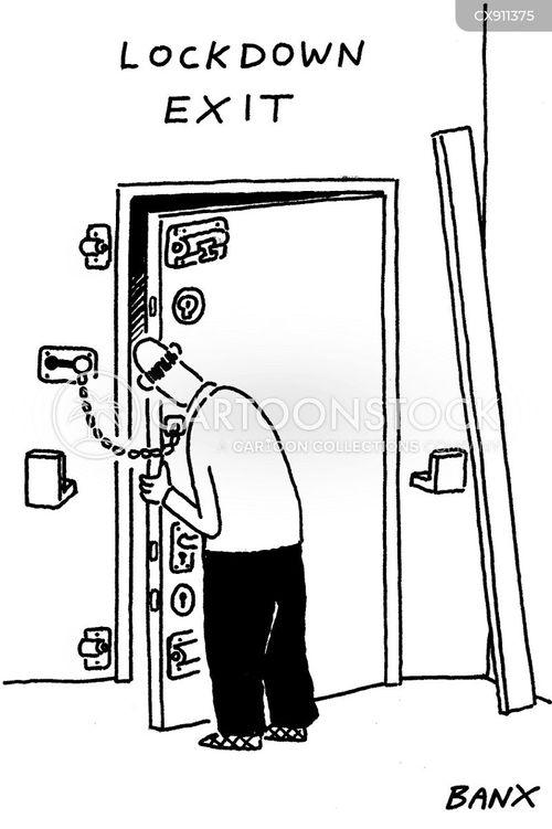 locked door cartoon