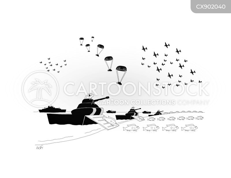Normandy Beaches cartoon