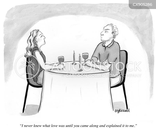 romantic dinner cartoon