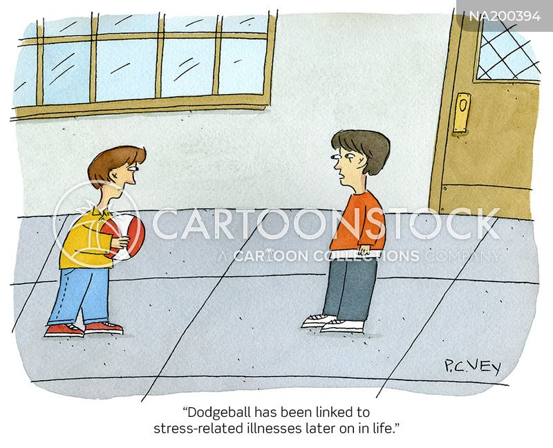 dodgeball players cartoon
