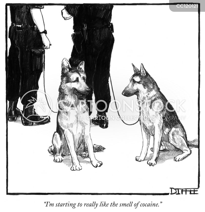 Drug-sniffing cartoon