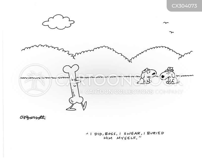 burying bones cartoon
