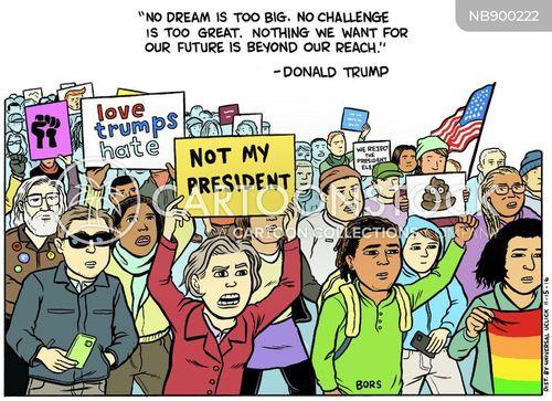 anti-trump protesters cartoon