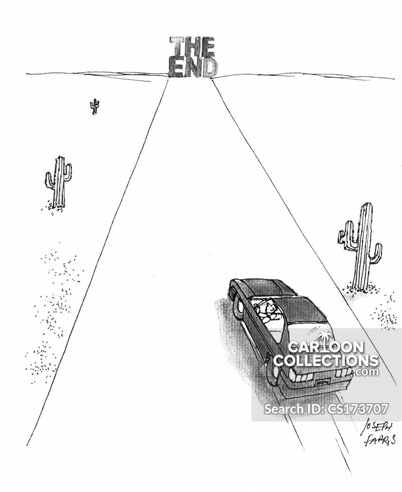 driving towards the end of the road cartoon