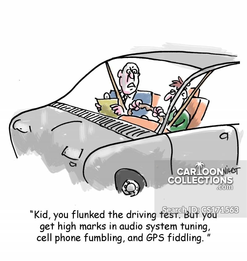 driving while distracted cartoon