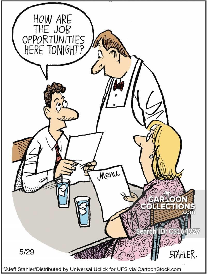 waitering jobs cartoon