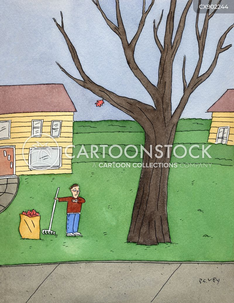raking leaves cartoon