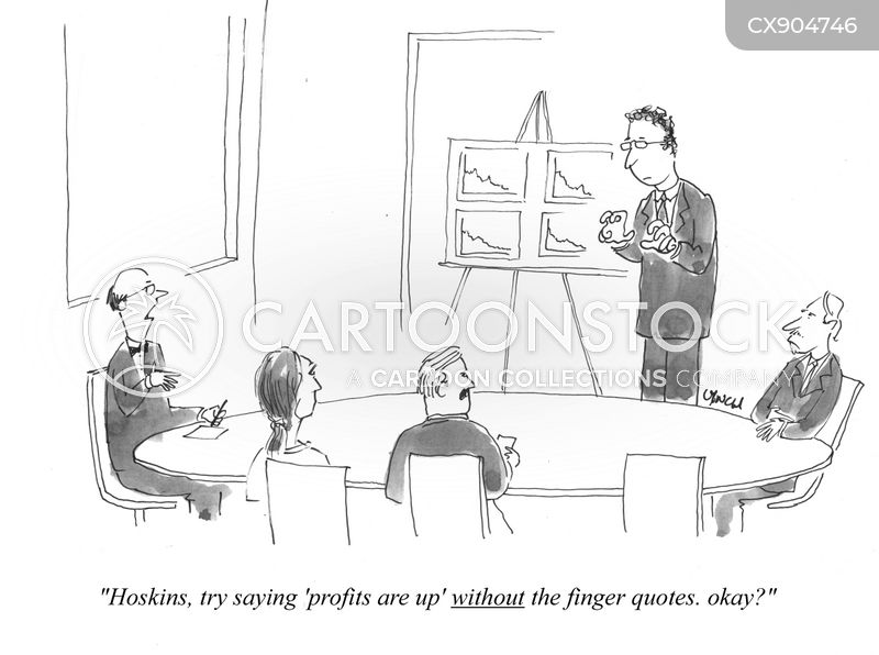 finger quotes cartoon