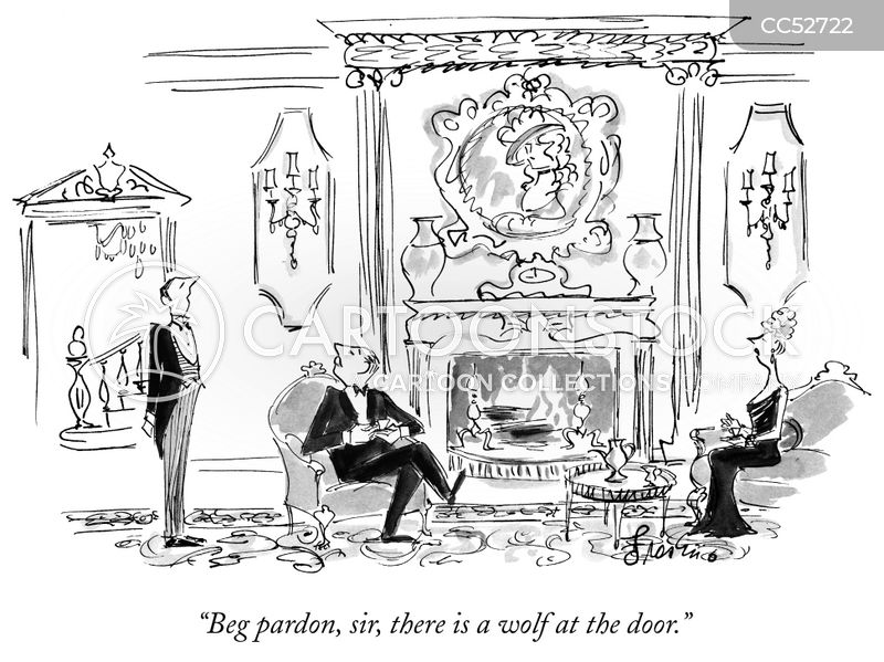 wolf at the door cartoon
