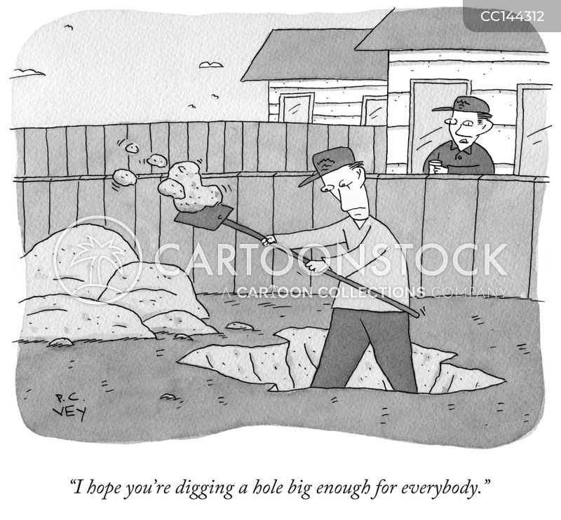 digging a hole cartoon