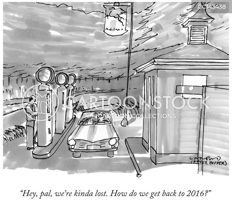 Old Gas Stations cartoon