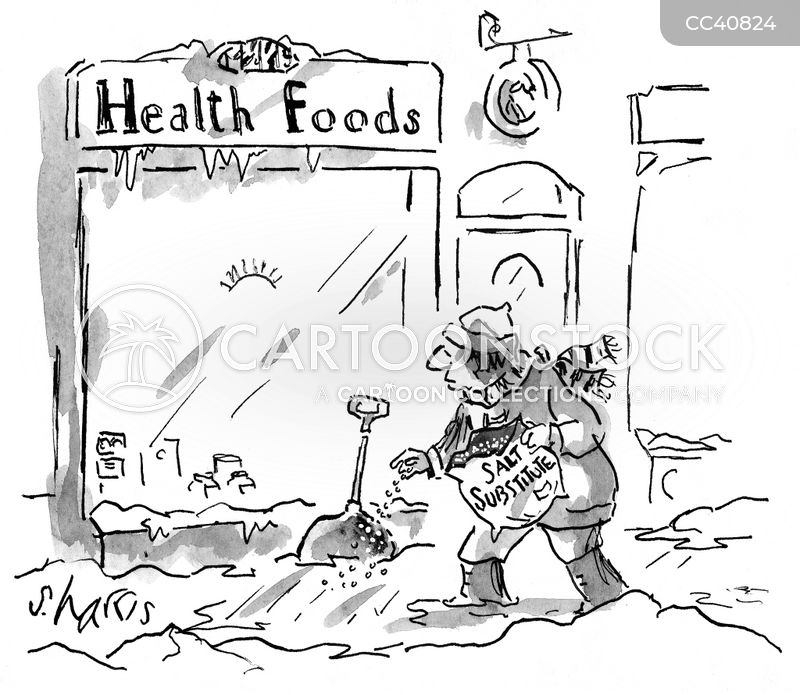 "<div style=""font-weight:normal;font-family:'Lato',Arial;"">A health food store uses a salt substitute to salt the sidewalk.</div><br/><a href='/cartoon?searchID=CC40824' class='wide' style='text-decoration:none;font-family:NexaBold,Arial,sans-serif;background:#076E3A;border:1px solid #076E3A;height:25px;width:60px;margin-bottom:10px;display:inline-block;text-align:center;vertical-align:middle;padding-top:7px;margin-bottom:-2px;color:white;'>INFO</a> <a href='/cartoon?searchID=CC40824' class='wide' style='text-decoration:none;font-family:NexaBold,Arial,sans-serif;background:#0072A9;border:1px solid #0072A9;height:25px;width:60px;margin-bottom:10px;display:inline-block;text-align:center;vertical-align:middle;padding-top:7px;margin-bottom:-2px;color:white;'>BUY</a>"
