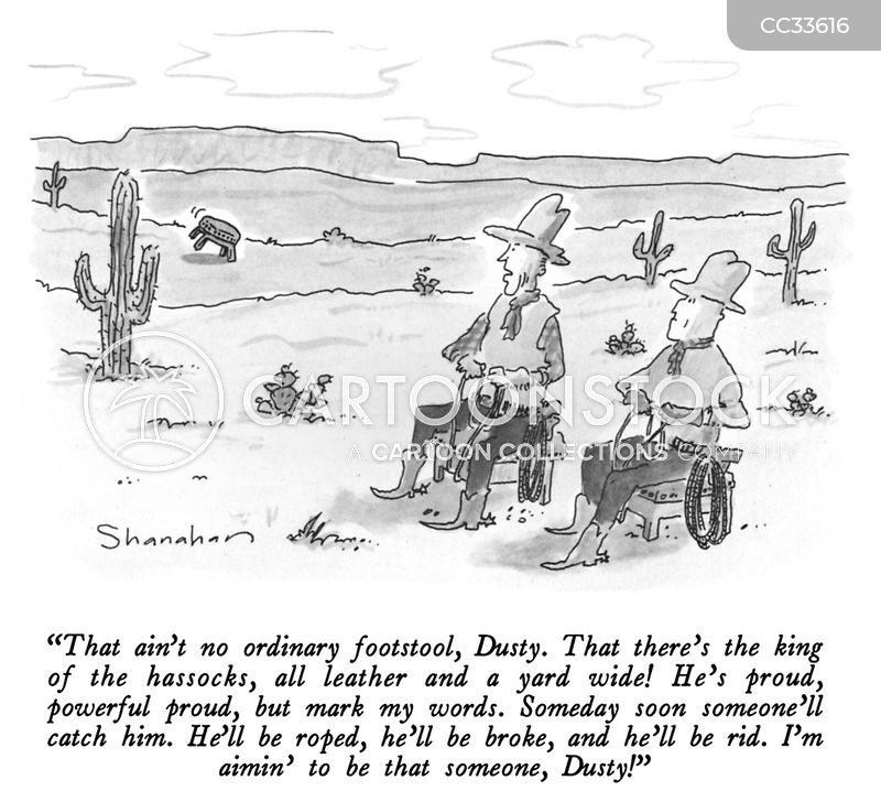 horse taming cartoon