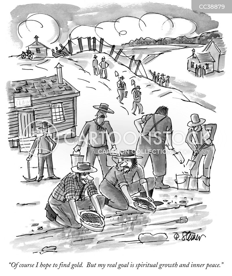 gold mining cartoon