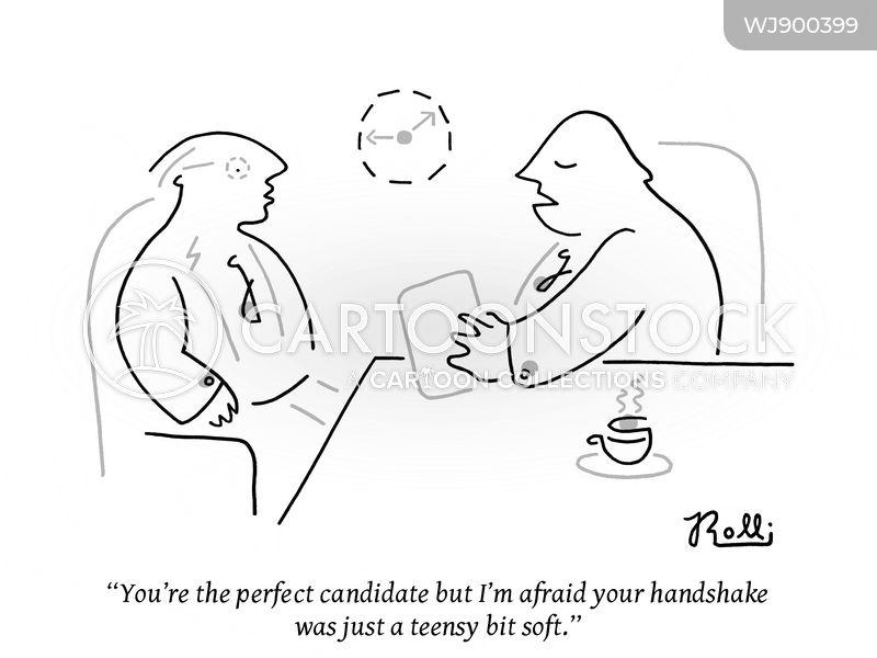 weak handshake cartoon