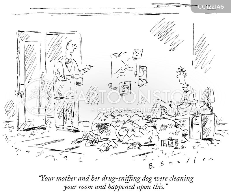 drug-sniffing dogs cartoon