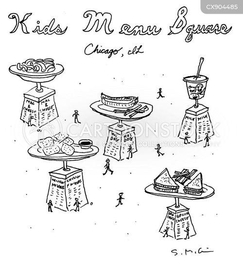 kids menus cartoon