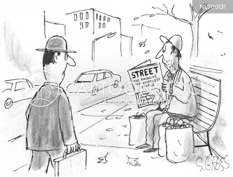 homeless person cartoon