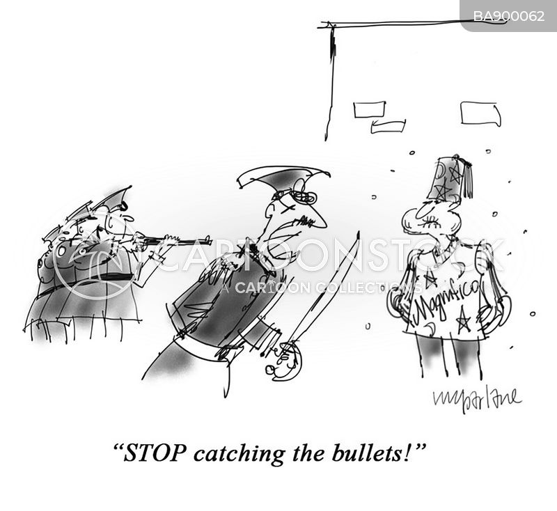 catching bullets cartoon