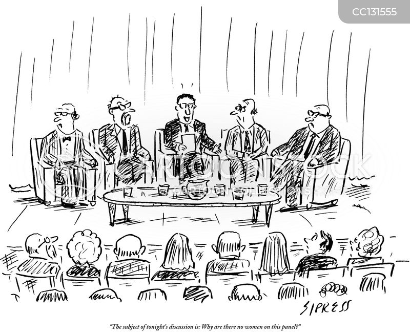 panel discussion cartoon