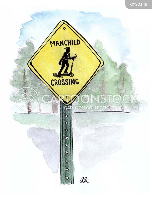 pedestrian crossing cartoon