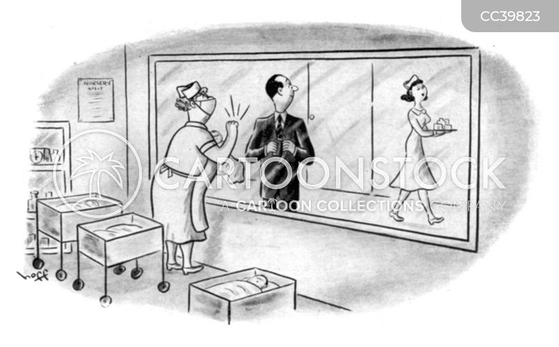 vintage maternity ward cartoon