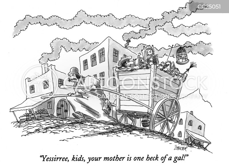 Pulling A Cart cartoon