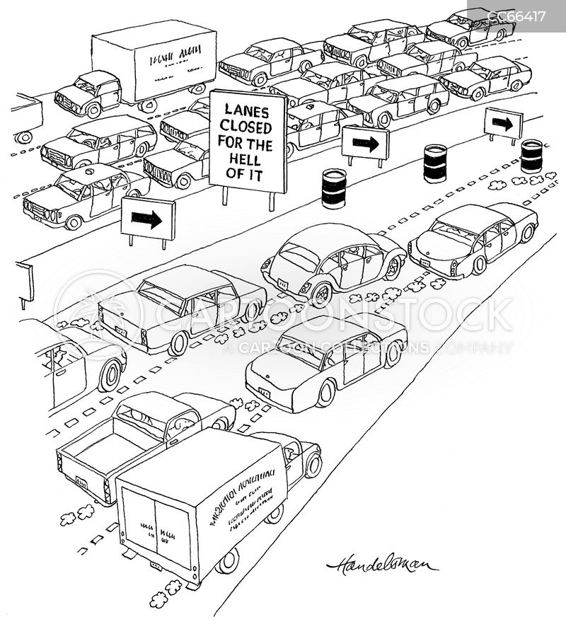 road closure cartoon