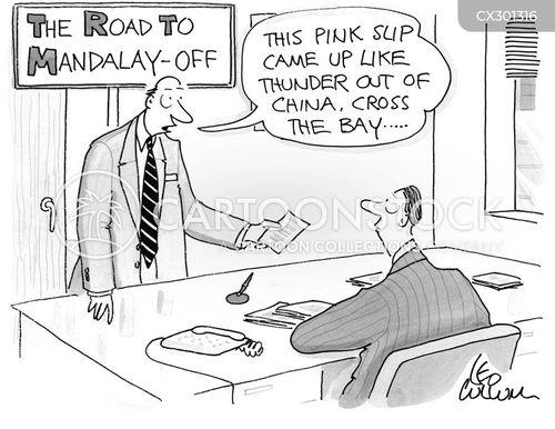 pink slip cartoon