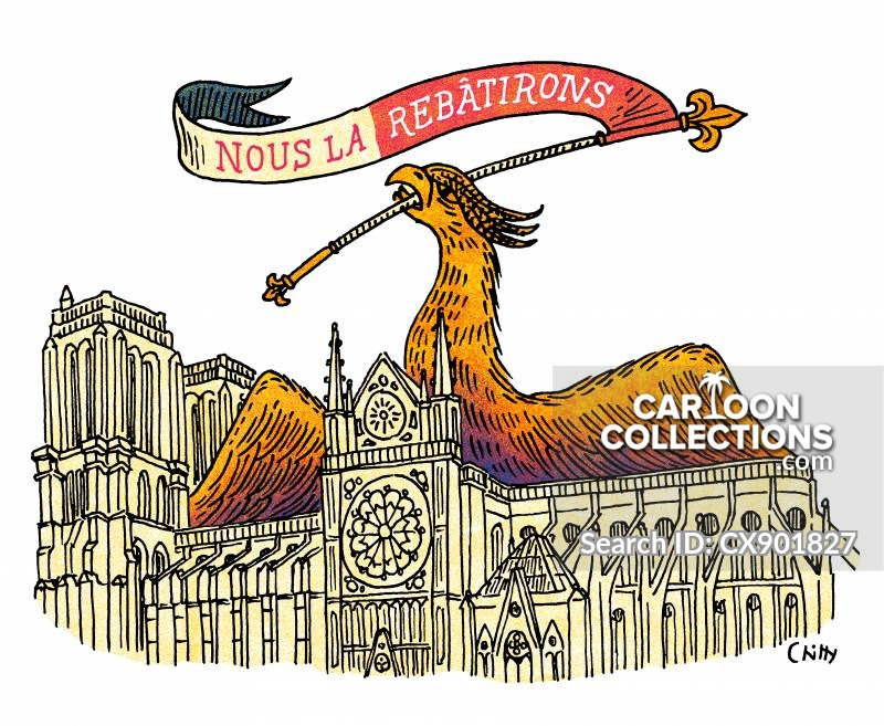 notre-dame cathedral cartoon