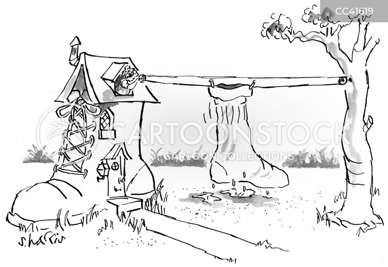 washing line cartoon