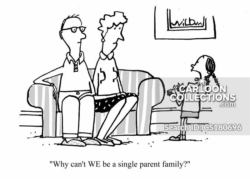 one parent family cartoon